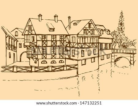 Vector architectural landscape. Ink sketch of the cozy corner of an old European city - stock vector
