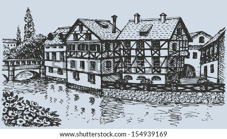 Vector architectural landscape. Ink sketch of the street of old half-timbering houses of medieval European town - stock vector