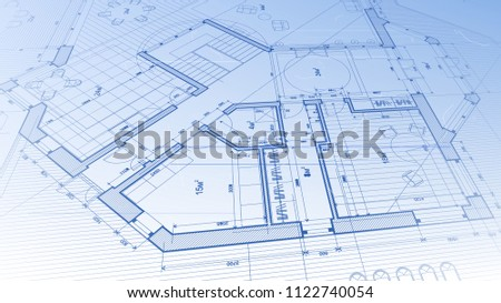 Vector architectural plan abstract architectural blueprint stock vector architectural plan abstract architectural blueprint of a modern residential building technology industry malvernweather Choice Image