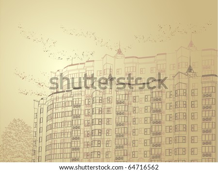 Vector Architectural sepia urban background (see jpg version in my portfolio) - stock vector