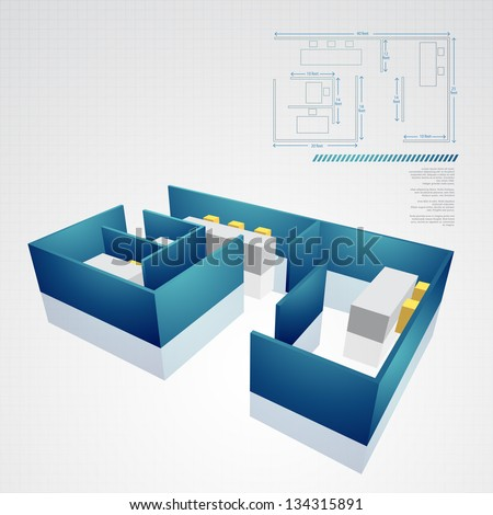 vector architectural technical drawing - stock vector