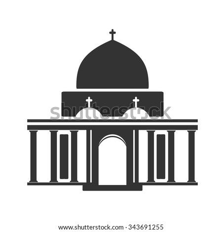 Vector architecture building symbol, historical building, black icon of church, chapel    - stock vector
