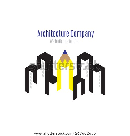 Vector : Architecture company logo with building and yellow pencil on white background , Logo concept