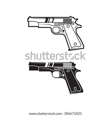 Vector army weapon for cover, poster, logo, print, label, sticker, banner, game. Line style. Set of two. - stock vector