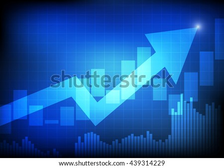 Vector : Arrow and bargraph on blue business background - stock vector