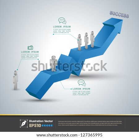 Vector arrow 3d to success / loop business report or plan / modern template / education template / business brochure - stock vector