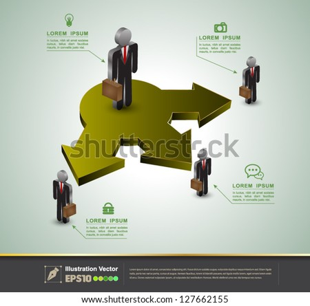 Vector arrow diagram with business-man icons / loop business report or plan / modern template / education template / business brochure - stock vector