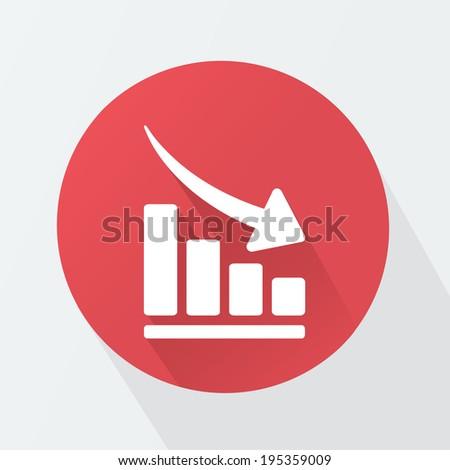 Vector arrow graph down icon - stock vector