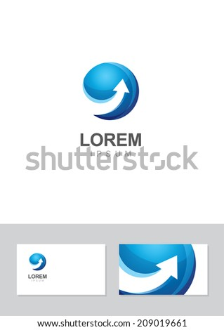Vector arrow logo and business card design template. Isolated blue up arrow icon. Moving and dynamic symbol. Abstract concept for business, finance, modern high technology, development. - stock vector