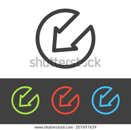 Vector arrow sign icon set, line and flat design - stock vector