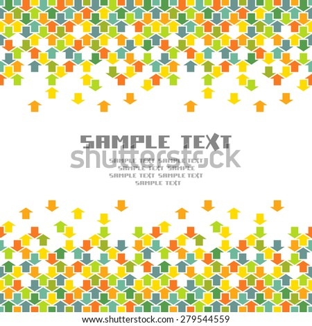 Vector arrows background. Seamless pattern with concept of movement, cooperation and concord. Illustration with text box for print, web