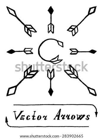 Vector Arrows Black and White, Straight and Round. Set of Signs Illustration with Text Lettering Label. Ancient Stone Arrows.