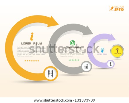 Vector arrows business concepts with  icons / can use for info-graphic / loop business report or plan / modern template / education template / business brochure /  system diagram - stock vector