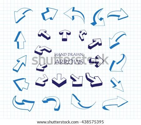 Vector Arrows.Hand Drawn Arrows.Arrow Icons.Arrow Symbols. - stock vector