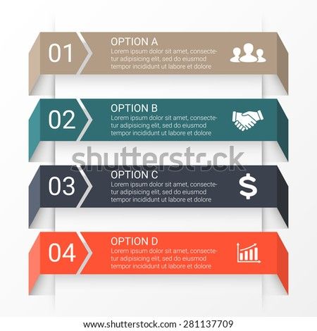 Vector arrows infographic. Template for diagram, graph, presentation and chart. Business startup concept with 4 options, parts, steps or processes. Data visualization - stock vector