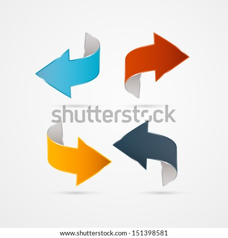 Vector Arrows Isolated on Grey background  - stock vector