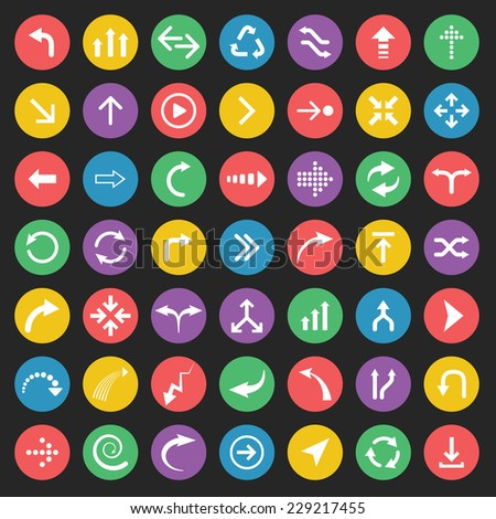 Vector arrows on colored circular buttons on black background - stock vector