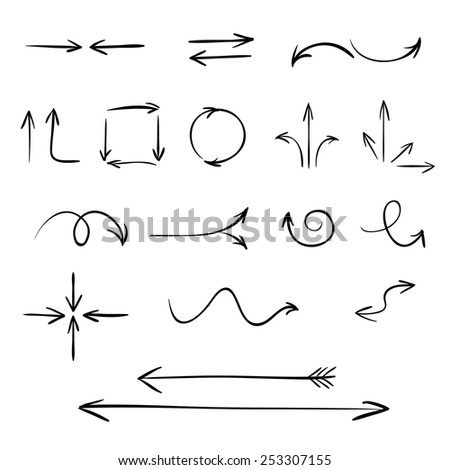 Vector arrows set, sketched style  - stock vector