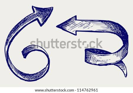 Vector arrows. Sketch - stock vector