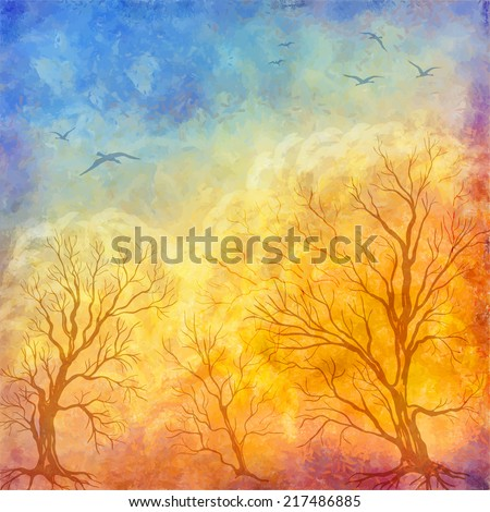 Vector art autumn landscape as oil painting. Grunge picture showing trees, brush strokes dramatic sky, flying migratory birds - stock vector