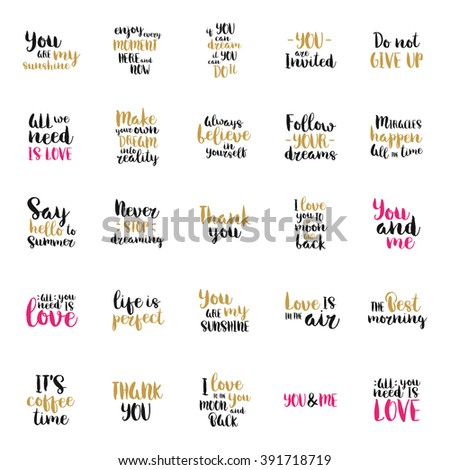 Vector art calligraphy. Hand drawn lettering collection. Vintage illustration. - stock vector