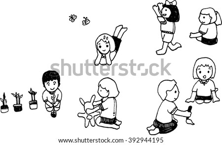 vector art character of boy and girl design for card