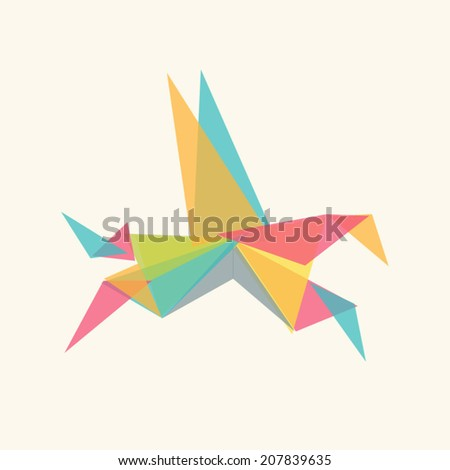 Vector art colorful origami horse isolated. Contemporary spectrum abstract background illustration. Fashion design element geometric triangle shapes animal pegasus. - stock vector