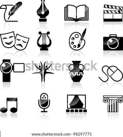 Vector Art Culture and creativity black & white set - stock vector