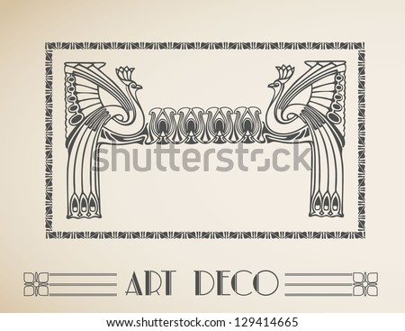 Vector Art deco retro frame with peacock. - stock vector