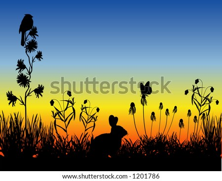 vector art depicting a meadow silhouette scene at sunset