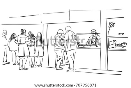 Vector Art Drawing Of People In A Food Court Shopping Mall