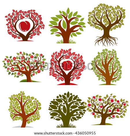 Vector art drawn trees with ripe apples and beautiful red blossom. Harvest season idea eco symbols, can be used as ecology and environmental conservation concept. - stock vector
