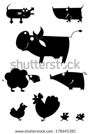 Vector art farm animal silhouettes collection for design - stock vector