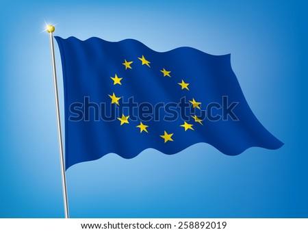 Vector art flags waving illustration:European Union (EU) - stock vector