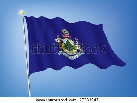 Vector art flags waving illustration:Maine