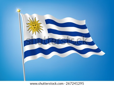 Vector art flags waving illustration:Uruguay - stock vector