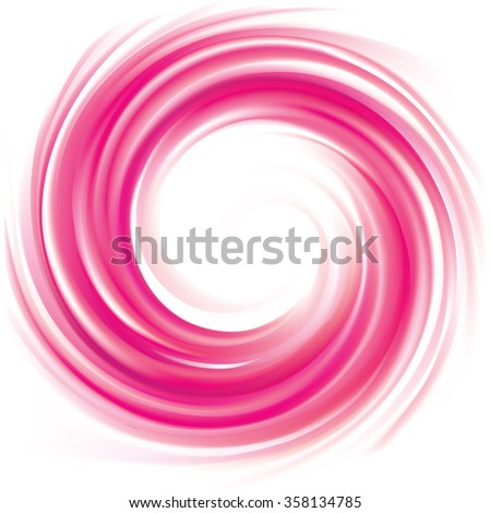Vector art glossy radial rippled curvy backdrop. Whirl gel fluid vivid pink eddy caramel syrup surface with space for text in white center. Appetizing jam juicy fruits rose color: currant, strawberry - stock vector