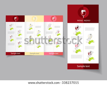Vector art graphic illustration of wine list template - stock vector