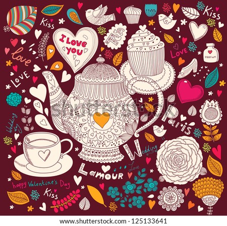 Vector art hand drawn holiday card with cupcake and teapot - stock vector