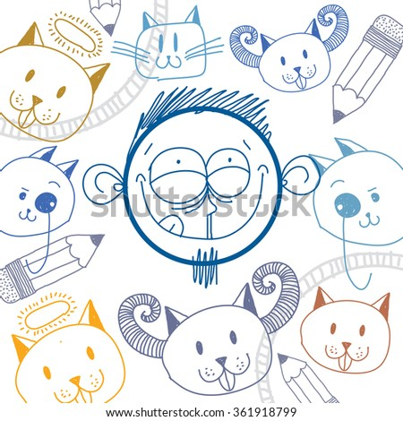 Vector art hand drawn illustration of personality, emotions on teenager face. Social interaction allegory drawing. Content person. - stock vector