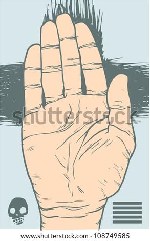 vector art hand stop - stock vector