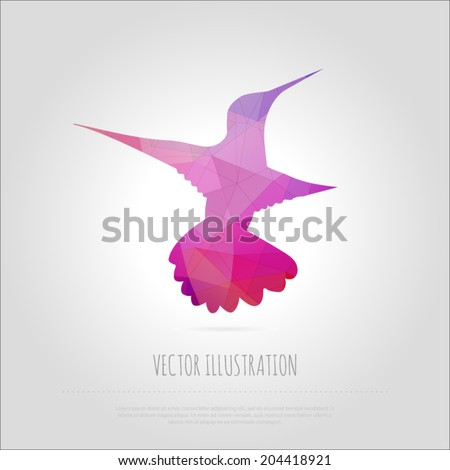 Vector art illustration fly bird colibri isolated. Contemporary spectrum mosaic design element. Abstraction animal hummingbirds card. Trendy multicolored polygonal background  with text block. - stock vector