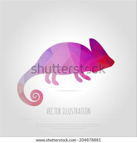 Vector art multicolored polygonal illustration chameleon isolated. Contemporary spectrum creativity mosaic lizard design element. Abstraction animal trendy. - stock vector