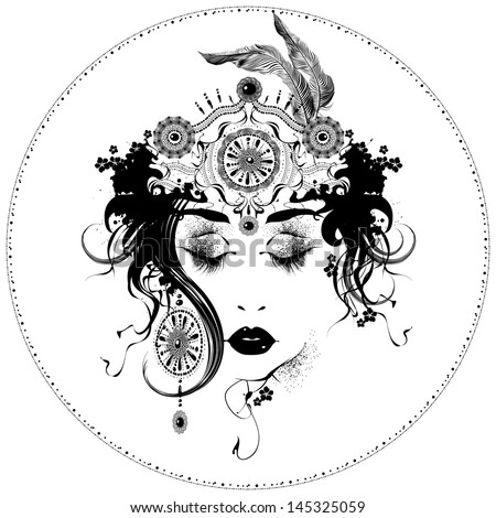 Vector Art Nouveau styled girl - stock vector