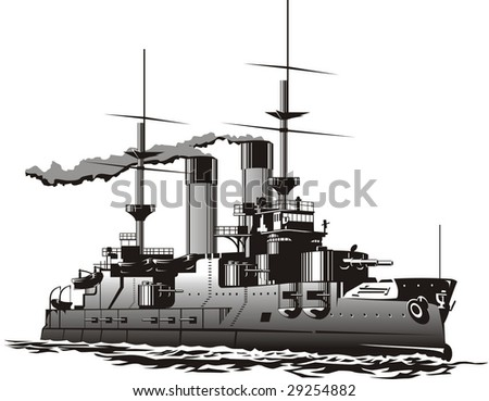 Vector art of a steam Battleship - stock vector