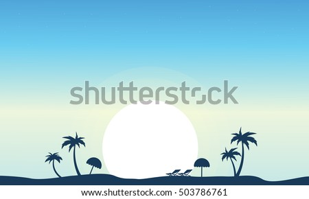 vector art beach landscape silhouette illustration stock vector