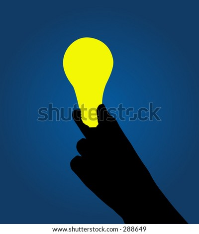 Vector art of hand holding a lightbulb - stock vector