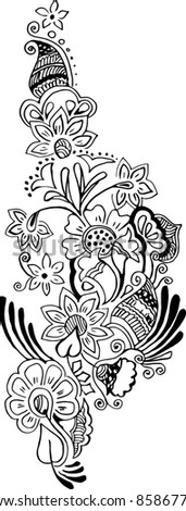 Vector Artistic Floral Pattern Tattoo - stock vector