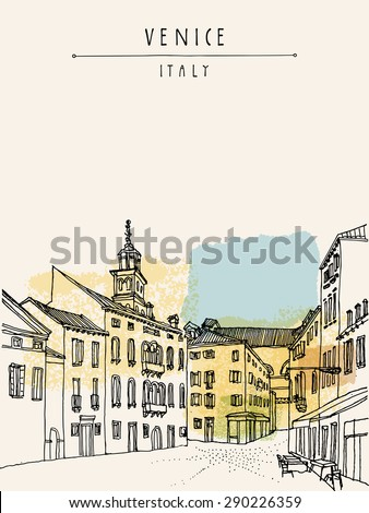 Vector artistic freehand illustration of Venice city architecture, Vintage engraved picture, hand drawn. Venetian square with a street cafe. Vertical postcard greeting card template in retro colors - stock vector