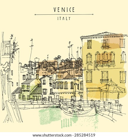 Vector artistic freehand illustration postcard with a touristic city view of Canareggio, Venice, Italy, Europe with gondola in retro colors. Vintage postcard greeting card graphic design template. - stock vector